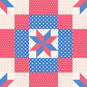 Patchwork pattern in red and blue — Vecteur