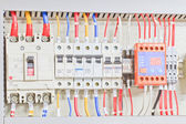 Control panel with static energy meters and circuit-breakers (fuse) — Stok fotoğraf