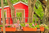 Small house on the tree top and flowers — Stock Photo