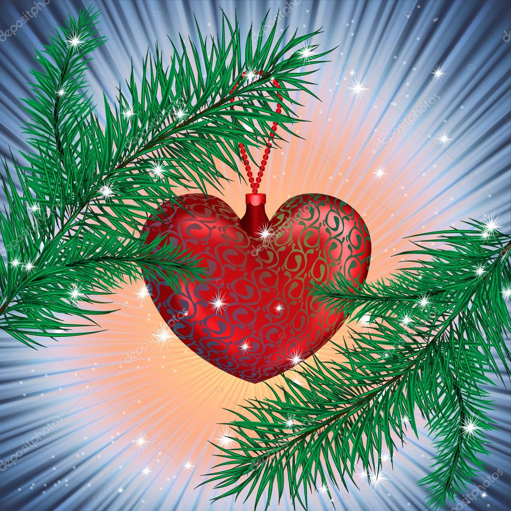 Two branches and The Red Heart is between them with sparkles around  Stock Vector #13821259