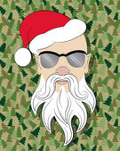 Santa skinhead on camouflage background — Stock Photo