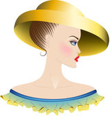 Lady in yellow hat and dress with ruches — Stock Vector