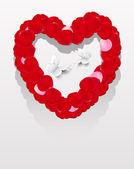 Coeur de pétales rouges — Vecteur
