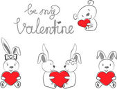 Valentine's Rabbits and Bear with Red Heart — 图库矢量图片
