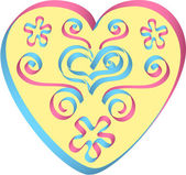 Heart decorated by ribbons in pink-blue colors — Stock Vector