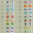 Eighteen social icons in three hand drawn styles — Stock Vector #50494091