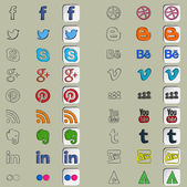 Eighteen social icons in three hand drawn styles — Stockvektor