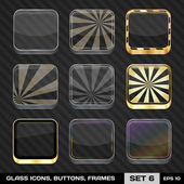 Set Of Colorful App Icon Frames, Templates, Buttons. Set 6. Vect — Vettoriale Stock