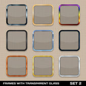 Set Of Colorful App Icon Frames, Templates, Buttons. Set 2. Vect — Stock Vector
