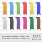 Transparent Ribbons Set 1. Tags, Bookmarks. Vector — Stock Vector