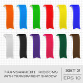 Transparent Ribbons Set 2. Tags, Bookmarks. Vector — Stock Vector