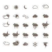 Hand Drawn Weather Icon Set. Vector — Stock Vector