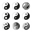 Yin Yang, Symbol Of Balance And Harmony. Set. Vector Illustratio — Imagen vectorial
