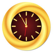 Golden Clock. Midnight, Midday. Isolated, Vector Illustration — Stock Vector