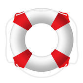 White lifebuoy, red stripes, rope. Isolated Vector Illustration — Stock Vector