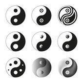 Yin Yang, Symbol Of Balance And Harmony. Set. Vector Illustratio — Stock Vector