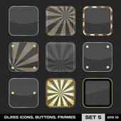 Set Of Colorful App Icon Frames, Templates, Buttons. Set 5. Vect — Stock Vector
