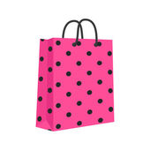 Blank Paper Shopping Bag With Rope Handles. Pink, Black. Vector, — Stock Vector