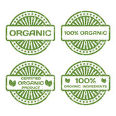 Grunge Rubber Stamp Set. Organic Product, Certified. Vector Illu — Stock Vector