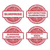 Grunge Rubber Stamp Set. Satisfaction Guarantee, Surprise. Vecto — Stock Vector