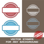 Blank Rubber Stamp Set. Template. For Any Background. Vector Ill — Stock Vector