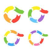 Renk çemberi okları ayarlayın. vektör — Stok Vektör