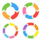 Color Circle Arrows Set. Vector — Stock Vector