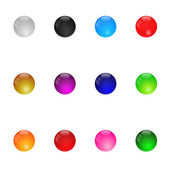 Collection Of Colorful Glossy Spheres. Set 1. Isolated. Vector I — Stok Vektör
