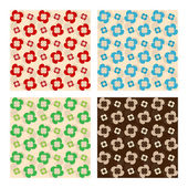 Set Of Seamless Patterns. Flowers Made Of Drops. Vector — Stock Vector