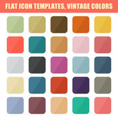 Set Of Flat App Icon Templates, Backgrounds. Vintage Palette. Ve — Stock Vector