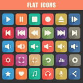 Trendy Flat Media Player Icons Set. Multimedia. Vector — Stock Vector