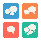 Trendy Flat Icons With Speech Bubbles. Set. Vector — Stock Vector
