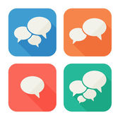 Iconos moda planos con burbujas de discurso. conjunto. vector — Vector de stock