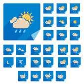Trendy Flat Weather Icon Set With Long Shadow. Vector — Stock Vector