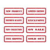 Grunge Rubber Stamp Set For A Shop. Vector Illustration — Stock Vector