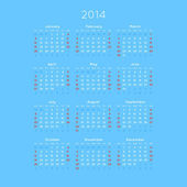 Calendar With Trendy Thin Font, 2014. Vector — Vettoriale Stock