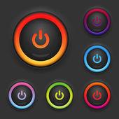Parlayan güç düğmesi. ayarlayın. vektör — Stok Vektör