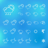 Trendy Thin Weather Icon Set. Vector — Stock Vector