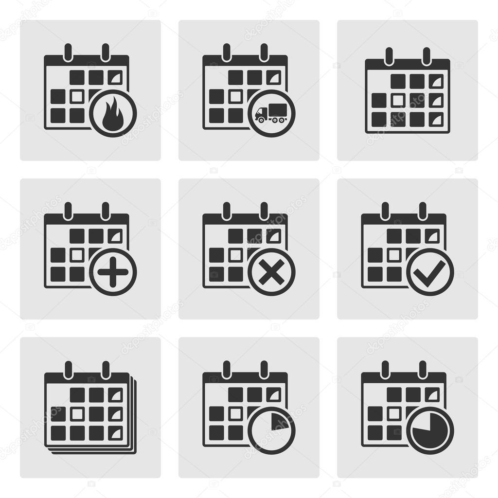 Event Calendar Illustration : Calendar icons events progress delivery vector — stock