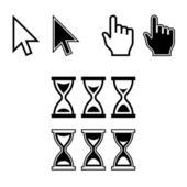 Cursor Icons. Mouse Pointer Set. Arrow, Hand, Hourglass. Vector — Vector de stock