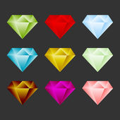 Gem Icon Set. Game Resource Or Emblem. Vector — Stock Vector