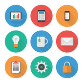 Flat Icons Set. Business. Vector — Wektor stockowy