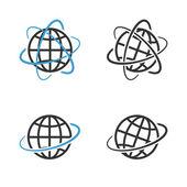 Earth Globe Emblem Set. Vector — Stock Vector