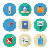 Flat Icons Set. Business Office. Vector Illustration — Vector de stock