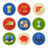 Flat Icons Set. Business Office. Vector — Stock Vector