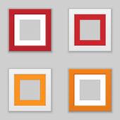 Realistic Square Picture Frame Set. Vector — Stok Vektör