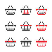 Shopping Basket Icon Set. Vector — Stock Vector