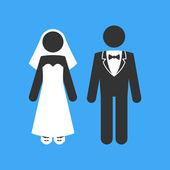 Wedding Couple. Marriage Invitation Template. Vector — Stock Photo