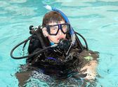 Boy wearing scuba diving equipment. — Stock Photo