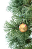 Gold christmas ball on the pine branch — Stock Photo